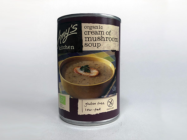 Tin of Organic Cream of Mushroom Soup Amy's Kitchen