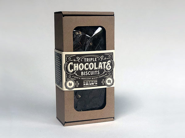 Box of Triple chocolate biscuits by Lottie Shaw
