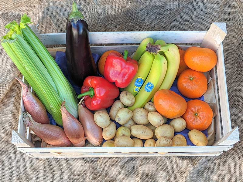 Combined box of fruit and veg